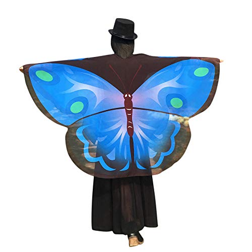 (WOZOW Damen Schmetterling Schmetterlingsflügel Kostüm Faschingkostüme Poncho Schal Tuch Umhang für Party Cosplay Karneval Fasching (Blau))