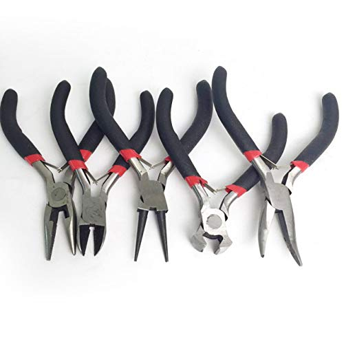 Flush Tip Cutter (5 stücke Mini DIY Schmuck Machen Zangen Set Kohlenstoffstahl & PVC Perlen Drahtwicklung Runde Lange Gebogene Mini Zangenschneider Tool Kit)