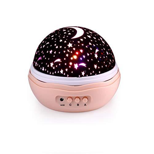 Qedertek Baby Nachtlicht, Sternenhimmel Projektor Beleuchtung, 4 LED, 360° Drehbare, USB/Batterie Betrieben, für Haus, Schlafzimmer, Kinder Zimmer, Hochzeit, Geburtstag, Party (rosa)