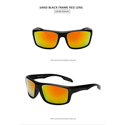 Taiyangcheng Sport-Sonnenbrille Goggle Polarized Männer Frauen Brille Schwarz Rahmen Driving Points,Schwarz Rot
