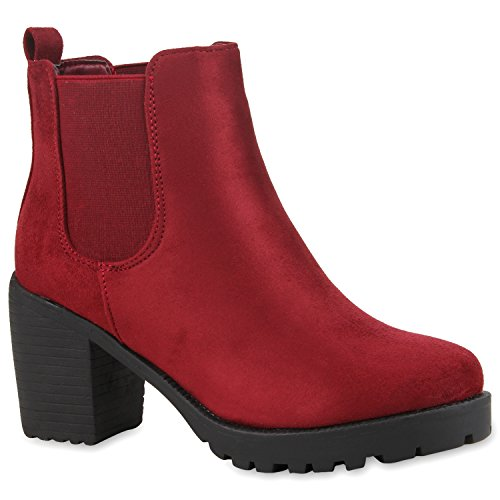 Damen Stiefeletten Chelsea Boots Profilsohle Schuhe Burgund