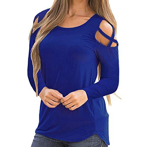 Vêtements d'Hiver Femme, Honestyi T-Shirt Solide épaule Froide en Forme Femme Manches Longues lanières épaule Froide Tops Mode Chemisiers