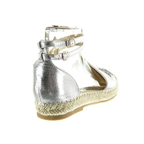 Angkorly Scarpe Da Donna Sandali Espadrillas - Stella - Glitter - Tacco Blocco Lucido 2,5 Cm Argento