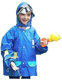 TRIWONDER Impermeable Rain Gear para Niñas, Niños, Kids Poncho Rain Jacket con Mochila para 3-12 Años de Edad (M (5-8 años), Azul)