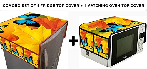 Banchmark Home Furnishings Combo of Refrigerator/Fridge Top Cover (with 6 Storage Pocket) & Microwave Oven Top Cover Microwave Covers with Pockets - Fabric Jute (Butterfly Combo)
