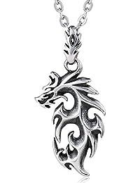5a543845c337 Blisfille Colgantes Mujer Hippy Collar para Navidad Collar Perro Acero  Inoxidable Collar de Dragón de Fuego