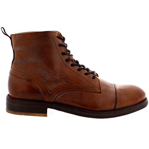 Herren H By Hudson Palmer Formal Leder Schnüren Büro Stiefelette Schuhe Braun (Tan)