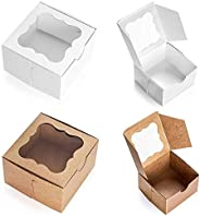 20 Cardboard White & Brown Bakery Boxes with Clear Window,(4x4x2.5inch) SQUARE Small Kraft PAPER GIFT Pie