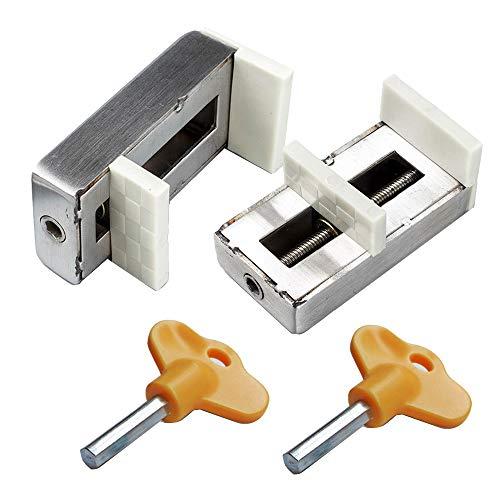 2 Stück Schiebefenster Schlösser mit Schlüsselvorhangstopper Diebstahlsicherung aus legiertem Stahl für Sicherheitstüren
