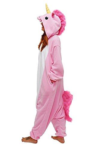 LATH.PIN Jumpsuit Tier Cartoon Fasnacht Halloween Kostüme Onsize Schlafanzug Cosplay Fleece-Overall Pyjama Erwachsene Unisex Lounge?S/M/L/XL) Pferd Pink