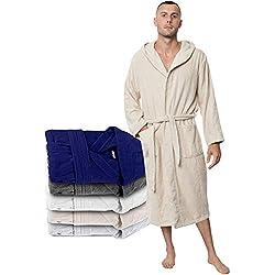 Twinzen Peignoir Homme (XS, Beige Clair/Taupe) - 100% Coton, Certifié Oeko TEX - Peignoir Eponge Coton avec Capuche, 2 Poches, Ceinture - Sortie de Bain Douce, Absorbante et Confortable
