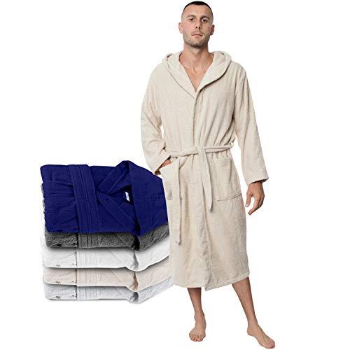 Twinzen Peignoir Homme (XXL, Beige Clair/Taupe) - 100% Coton, Certifié Oeko TEX - Peignoir Eponge Coton avec Capuche, 2 Poches, Ceinture - Sortie de Bain Douce, Absorbante et Confortable