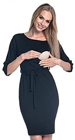 Happy Mama. Women's Nursing Layered Dress Belted Cold Shoulders Pregnancy. 432p (Black, UK 16, 2XL)