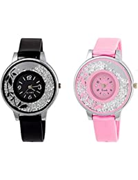 Shree Enterprise Watch With Diamond Dial | Attractive Black & Pink Color Belt & Dial | Casual | Party-Wedding...