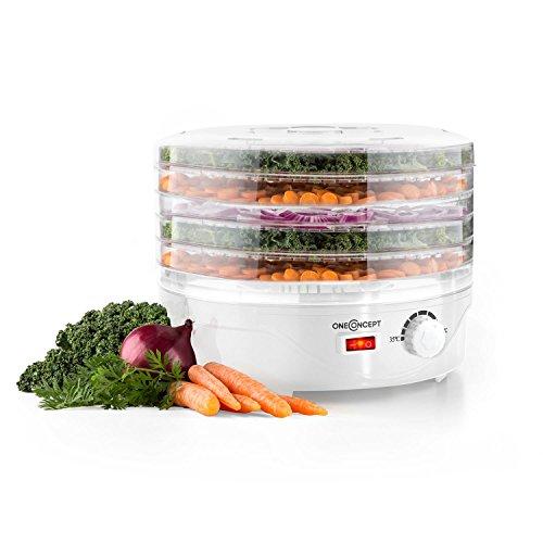 oneConcept Bonsai essiccatore per alimenti (250 Watt di potenza, 5 ripaini, temperatura regolibe fra i 40°C e i 70°C, distribuzione omogenea del calore, bassi consumi) - bianco