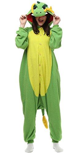 Aivtalk Erwachsene Tier Kostüm Pyjama Schlafanzug Unisex Onesie Jumpsuits Cosplay Fleece-Overall Tieroutfit Tierkostüme für Halloween Karneval Fasching - Grün Drache