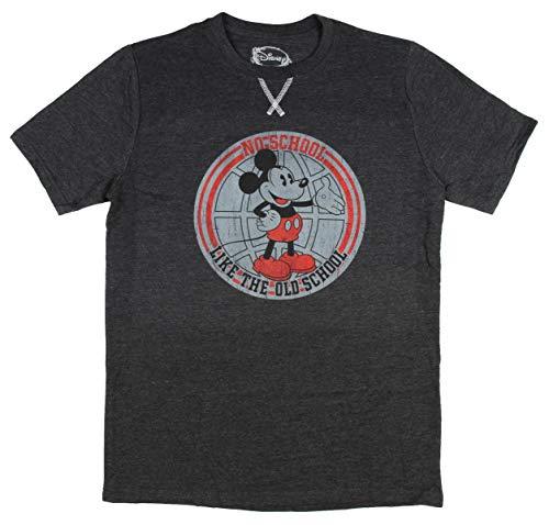 Disney Mickey Mouse Old School Herren T-Shirt mit Kreuzstich vorne - Grau - XX-Large