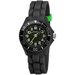 Tikkers Children's Quartz Watch with Black Dial Analogue Display and Black Rubber Strap TK0064