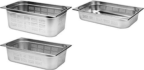 YATO Profi Edelstahl GN Gastronormbehälter gelocht 1/1 Größen Auswahl 100-200mm Gastro Norm Behälter perforiert Sieb