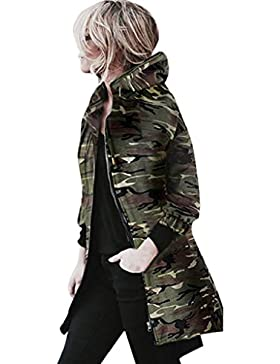 Escudo, abrigo,Internet Abrigo de manga larga con capucha para mujer Chaqueta Cazadora Camuflaje Outwear