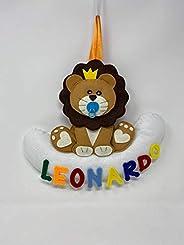 Fiocco Nascita tema leone con Nome Personalizzato, decorazione cameretta - Pri Frog fatto a mano