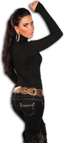 In Style Damen Pullover mit Rollkragen langärmelig Einheitsgröße (32-38) Schwarz