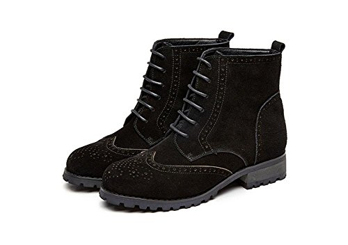 Kuki Bottes, Chaussures, Style Européen Et Américain, Dentelle, Daim, Mode, Couleur Des Sorts, Chaussures Plates, Casual, Martin, Noir