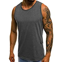 GRMO Men Sleeveless Athletic Gym Solid Color Plus Size Jersey T-Shirt Tank Top Vest Dark Grey M