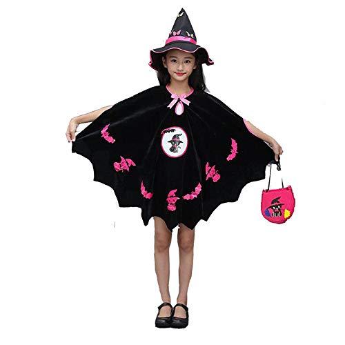 GJKK Halloween Kostüm Kinder Mädchen Zauberer Hexe Umhang Kleid Mantel mit Fledermaus Gedruckt + Hexenhut + Kürbis Tasche Cosplay Kostüm Halloween Outfits (Halloween-kostüme 2019 Gute Jungs Für)