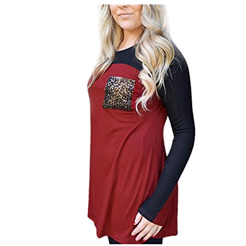 Longra Damen Casual Langarmshirt Bluse Pailletten shirt Frauen Langarm Patchwork Farbblock O Neck Tops Bluse Shirt Tunika Hemd (XL, Red) (Shirt Tunika Belted)