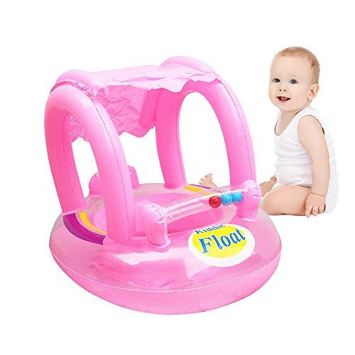 Leiyini Baby-Pool schweben Aufblasbarer Babyschwimmbecken Float Seat Schwimmring mit Sonnenüberdachung (Rosa)