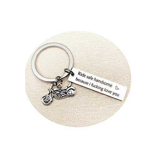 AnazoZ Edelstahl Schlüsselanhänger Motorrad mit Tag Gravierte Ride Safe Handsome Schlüsselbund Schlüsselring Anhänger Dekoration Silber, mit Kostenlose Gravur