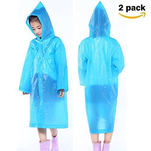 Pioggia poncho per bambini (2 pezzi), minleer poncho portatile impermeabile da pioggia, eva riutilizzabili poncho, ideali per viaggi, gite, festival, concerti - bambini blu