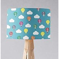Pantalla de lámpara azul con diseño de globos aerostáticos multicolores, lámpara de sobremesa o plafón.