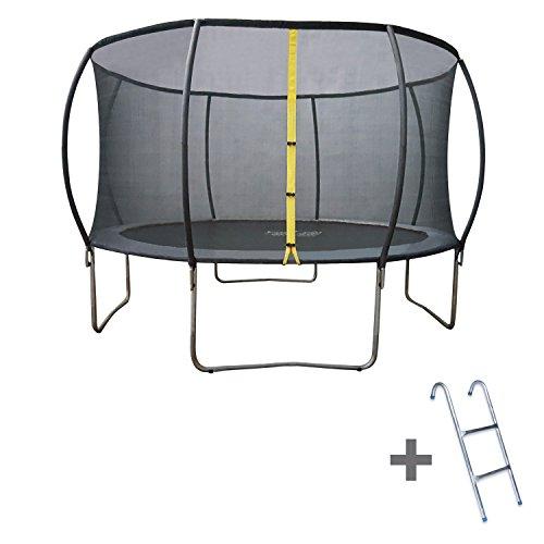 Trampoline 400cm gris BALMORAL avec filet de protection et son échelle