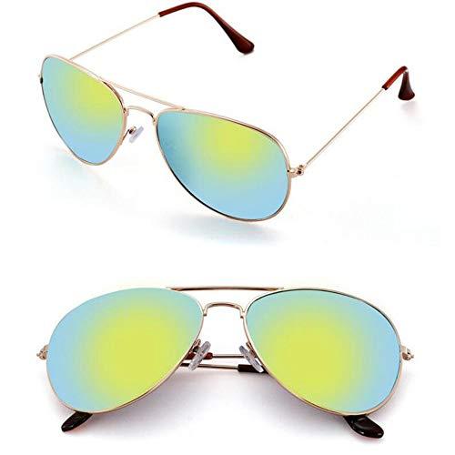 MOJINGYAN Sonnenbrillen Sonnenbrille Weiblichen Aviator Style Weiblichen Retro Fashion Gelb Spiegel Sonnenbrille Metallrahmen Bug Sonnenbrille Frauen
