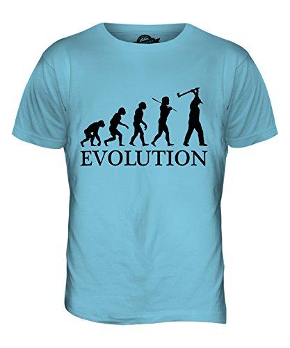 CandyMix Taglialegna Evoluzione Umana T-Shirt da Uomo Maglietta Azzurro Cielo
