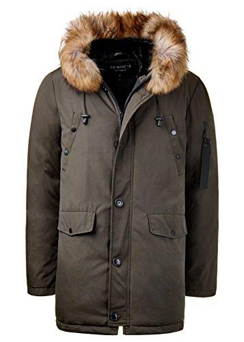 Burocs Herren Parka Winter-Jacke Kunst-Fell Imitat Kapuze Schwarz Khaki BR1625, Größe:XXL, Farbe:Khaki - 5