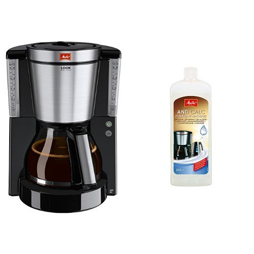 Melitta 1011-06 Look de Luxe Kaffeefiltermaschine -Aromaselector -Tropfstopp schwarz/edelstahl +...