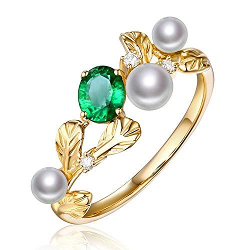 AMDXD 18 Karat Gold Damen Ringe Blatt Perlenringe Verlobungsringe Diamantring Gold mit Weiß Grün Perle Smaragd Gr.58 (18.5)