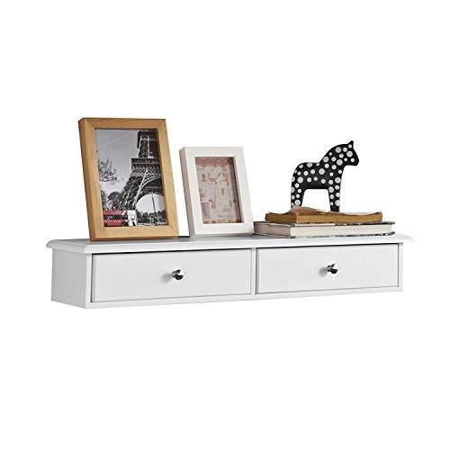 SoBuy FRG43-W Mensola con cassetti, Libreria, porta gioielli a chiavi,bianco