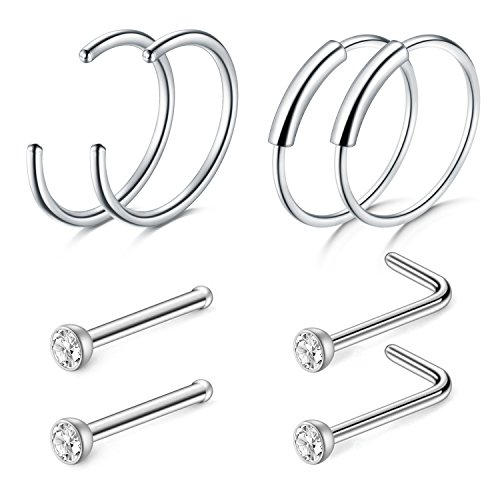 Zolure set piercing al naso anello cerchio stud segmento 22 gauge acciaio inossidabile, 4 pezzi argento