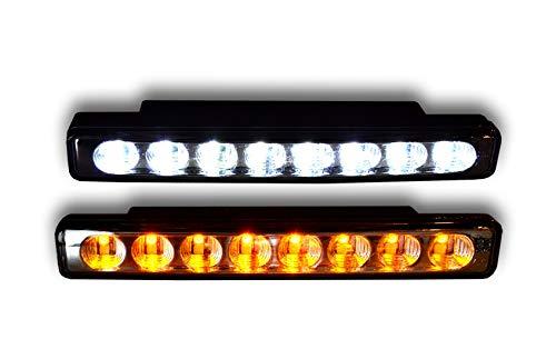 2 x 12 V LED DRL luci diurne con indicatori di segnale E4 universale auto furgoni pickup camper 4x4 camper, fuoristrada, autobus, camion, rimorchio, ATV Custom progetto