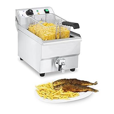 Royal Catering Friteuse Électrique Friteuse Professionnelle RCEF 10EH-1 (10 Litres, 3 000 Watt, Thermostat, Robinet de vidange, Acier inox)