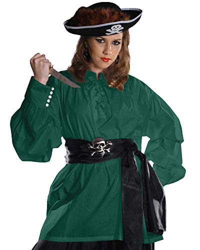 Mittelalter Piratenkostüm Grace O' Malley Poet Shirt C1010 Gr. X-Large, grün (Grace O'malley Kostüm)