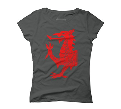 Design By Humans Cymru Dragon Red Halftone Women's 2X-Large Anthracite Graphic T-Shirt