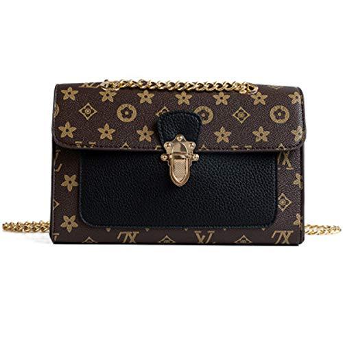 Mode Flut Frauen Tasche Druck kleine quadratische Tasche Damen Schloss Schnalle Handtasche Kette Umhängetasche (Black, 26x10x16cm)