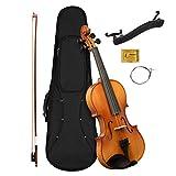 CASCHA 1/4 violon pour débutants, adolescents et adultes, violon solide avec archet, colophane, cordes de rechange, repose-épaule, étui formé, épicéa nature