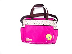 pink beige tweety patch mother bag