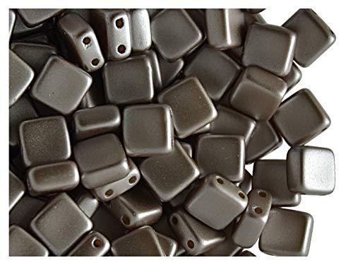 40pcs Tile Beads - Perles de verre pressées tchèques Carrelage 6x6x2.9 mm, deux trous, Pastel Lt. Brown/Coco